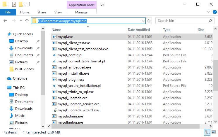 Executable mysql xampp windows