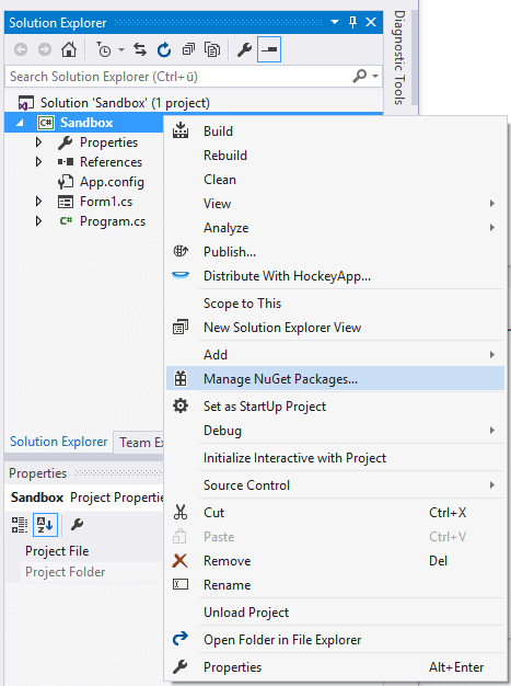 NuGet package manager project Visual Studio