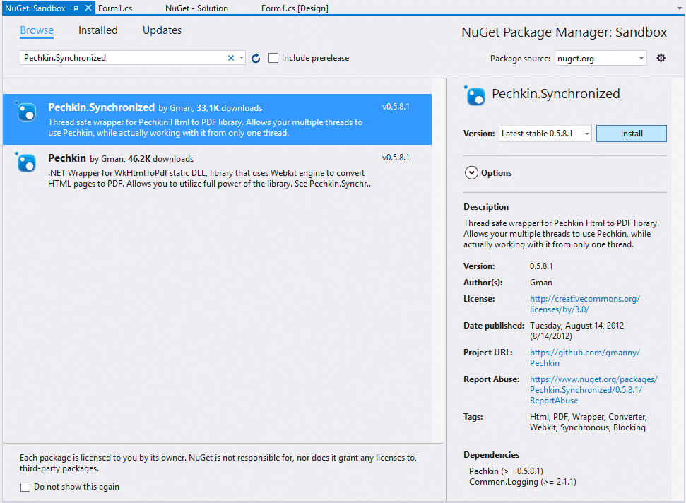 Pechkin.Synchronized NuGET package visual studio