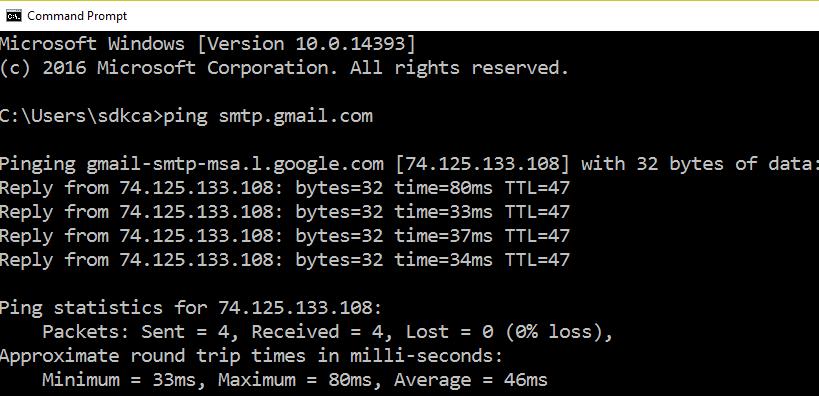 SMTP Gmail Ping