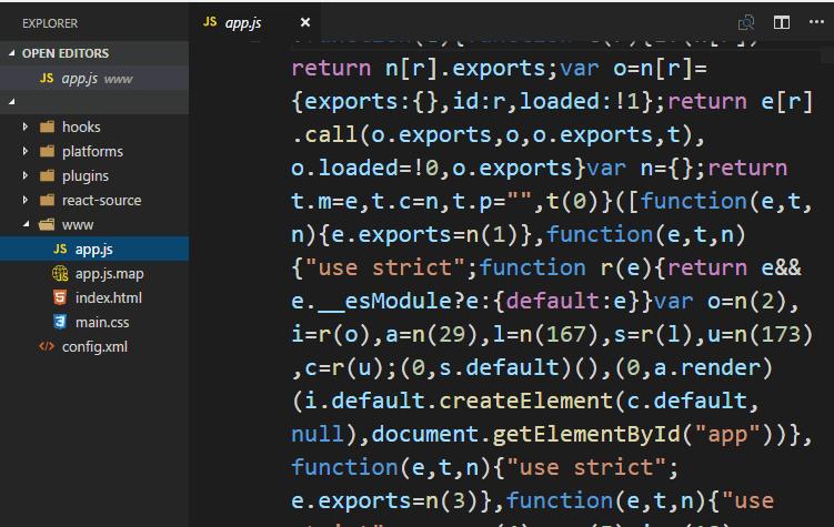 Cordova APK source code file content