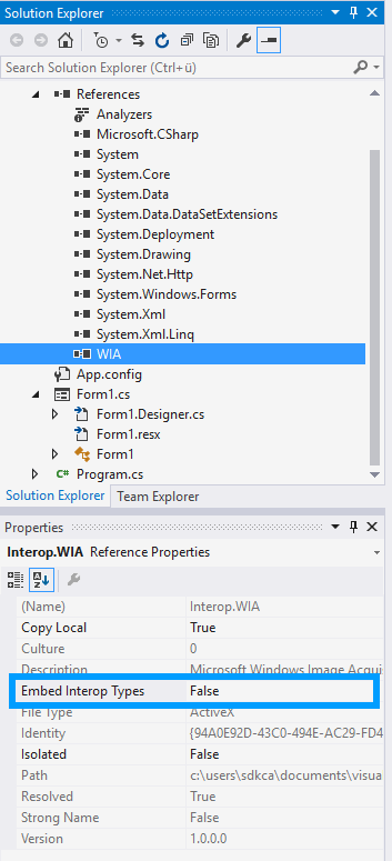 Embed Interop Types WIA C#
