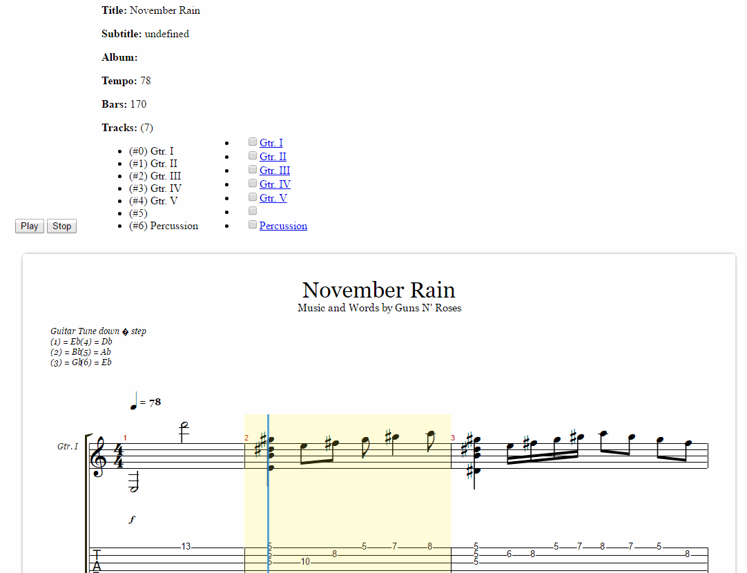 Guitar Pro Tab Javascript Web Browser