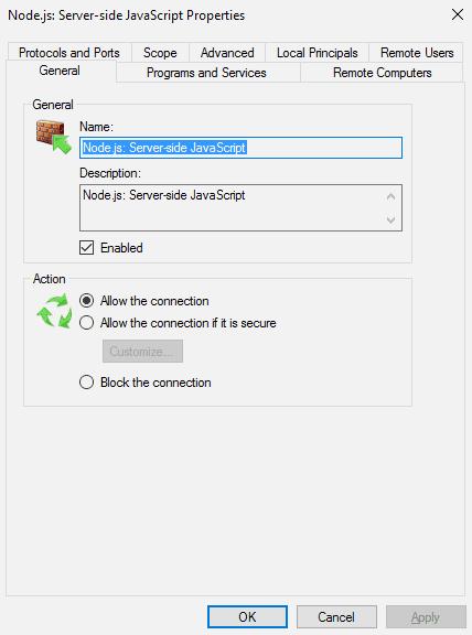 Allow Inbound Connections Node.js