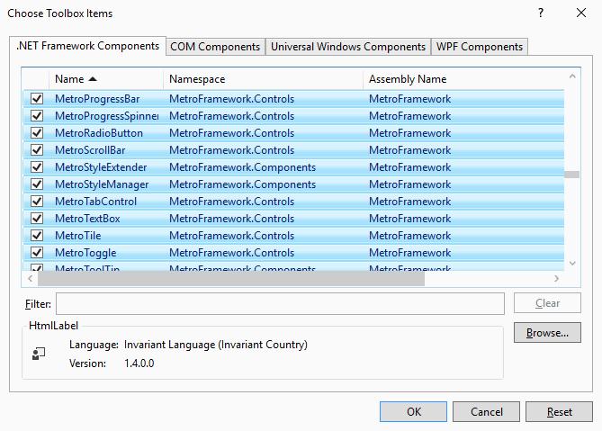 MetroFrameworks UI controls