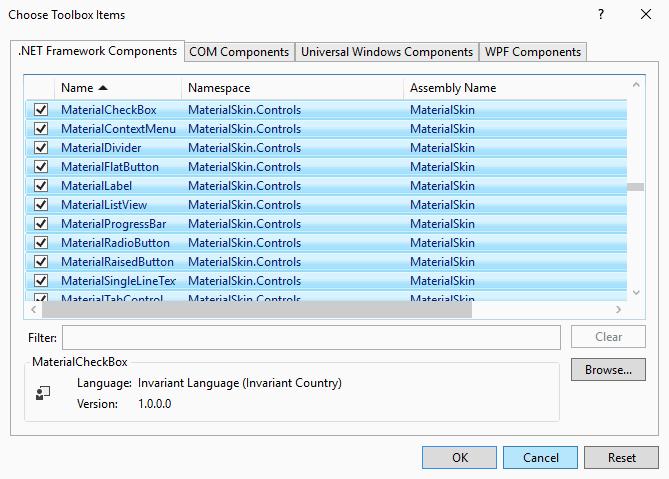 Material Controls List