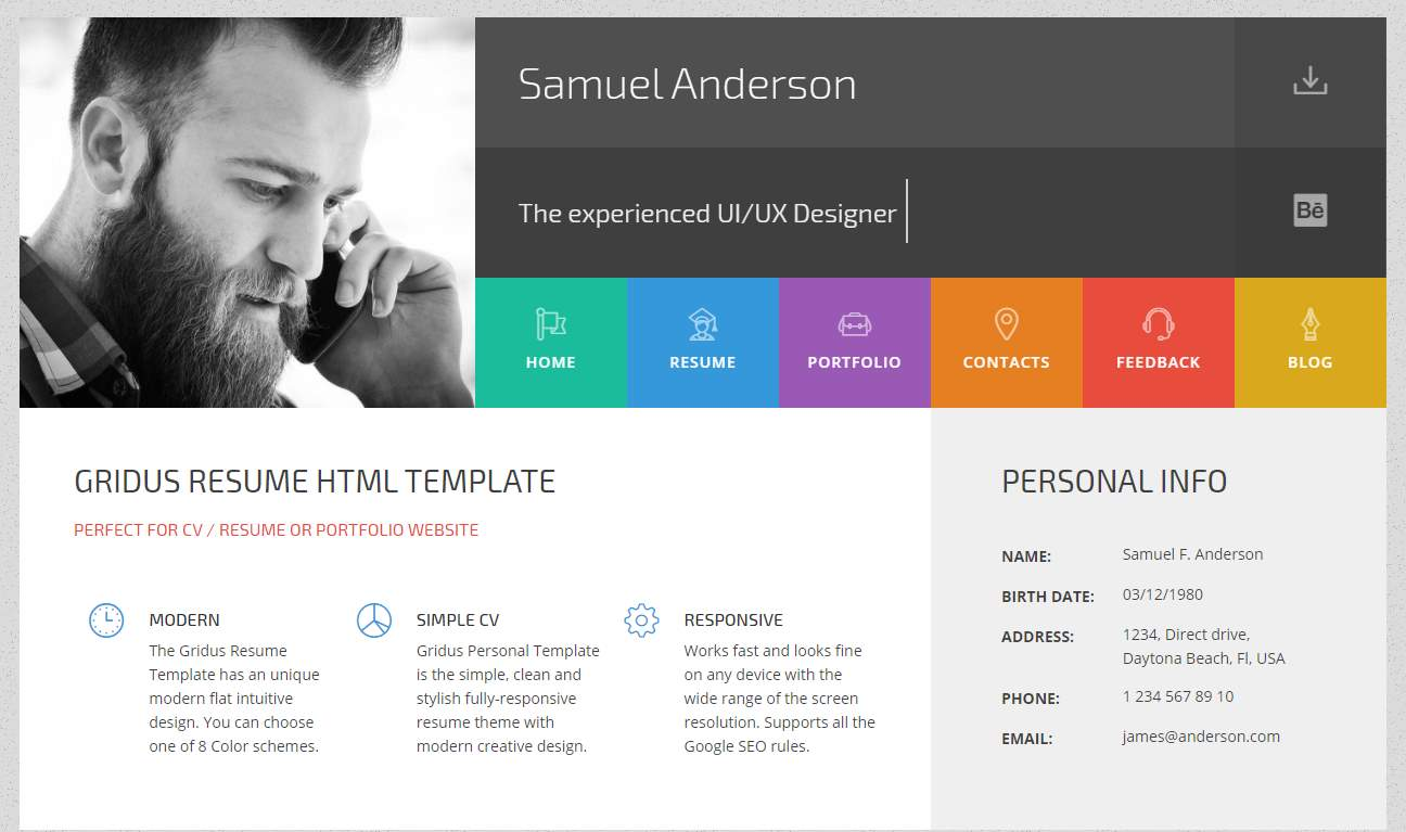 Gridus CV template portfolio