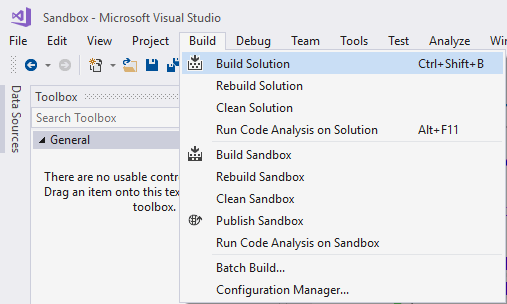 Build solution project Visual Studio