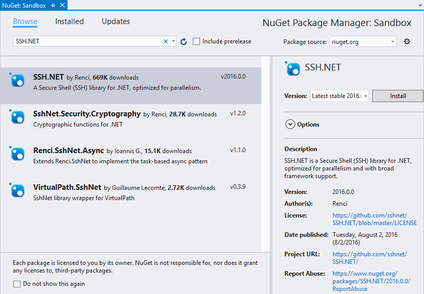 Install SSH.NET from the nuGet repository by renci