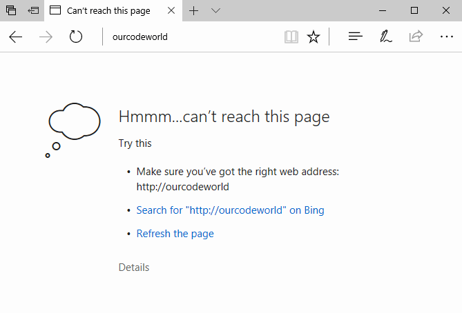 Microsoft Edge can't reach local domain