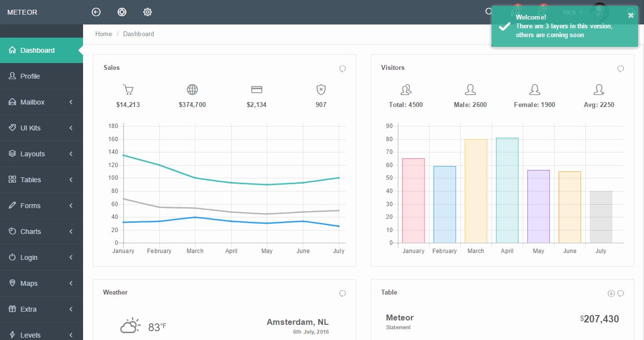 Envato Elements Meteor Premium Admin Template