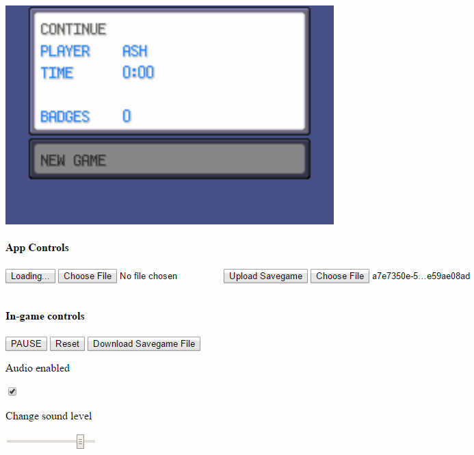 Savegame JavaScript GBA Emulator