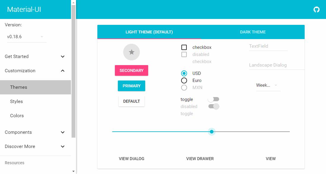 React UI Framework Material UI