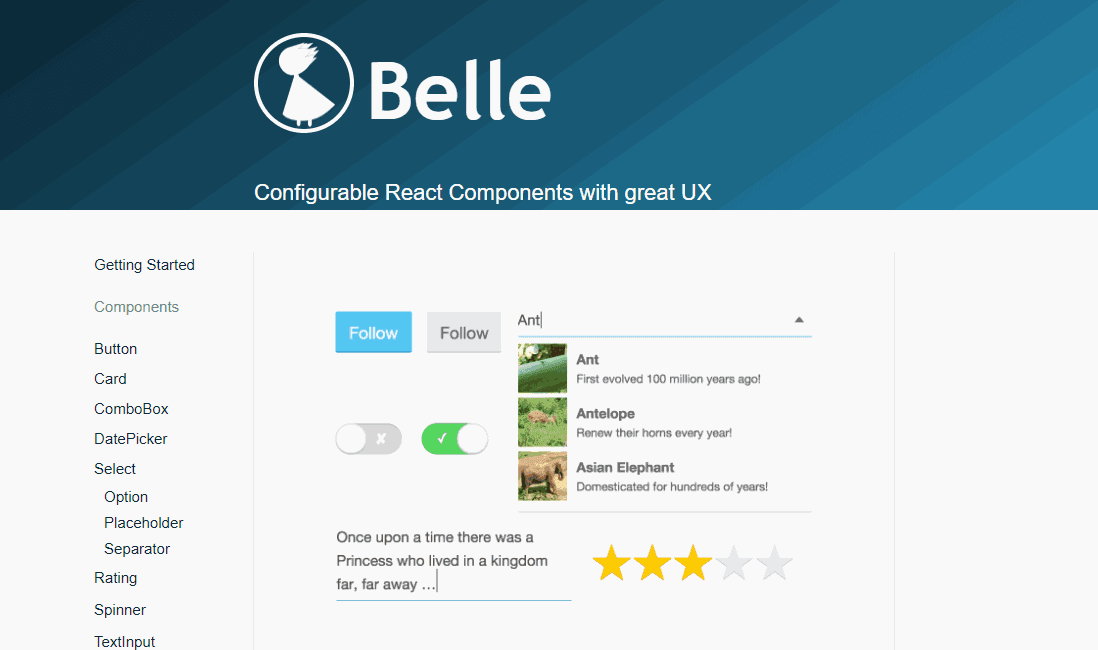 Belle User Interface ReactJS