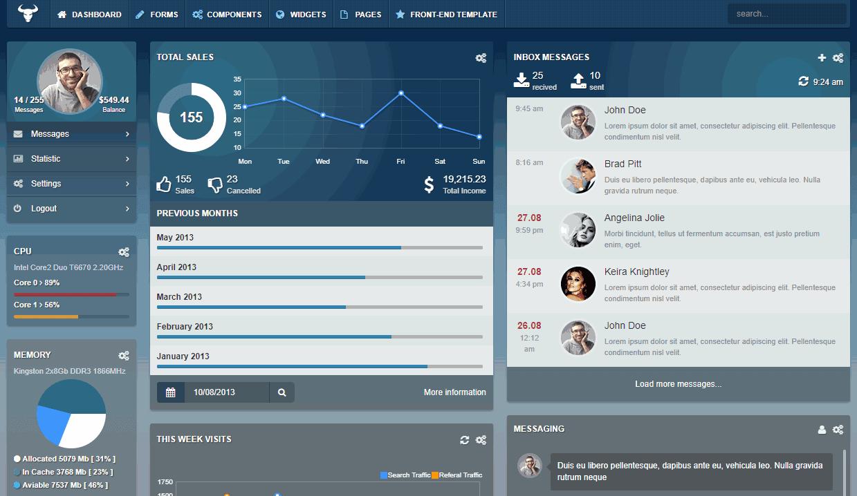 Taurus Premium Bootstrap Admin with Transparent UI