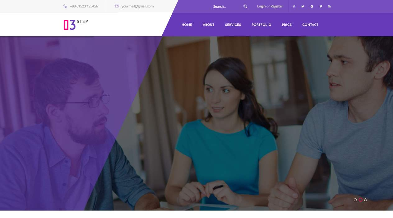 3 Step Premium Material Corporate Website Template