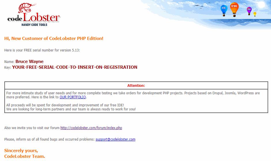 Registration Email Message