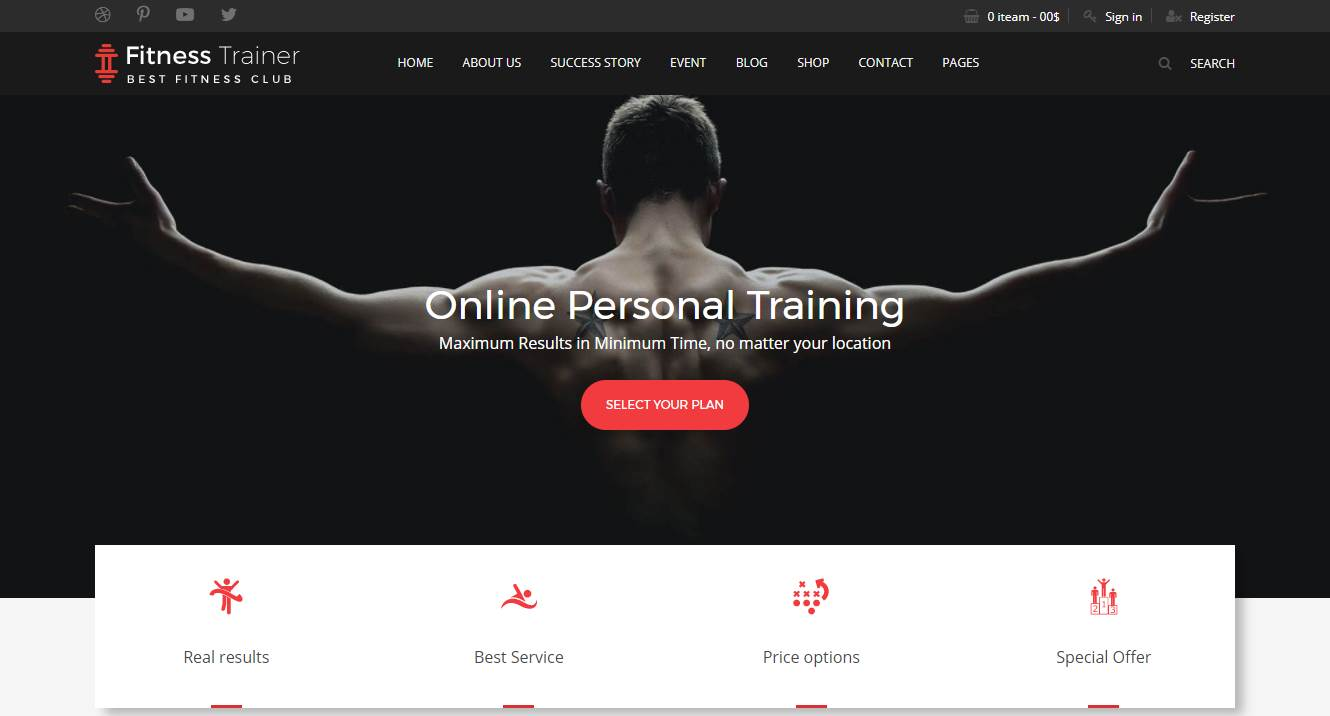 top 10 best premium gym fitness sports and bodybuilding website templates our code world. Black Bedroom Furniture Sets. Home Design Ideas
