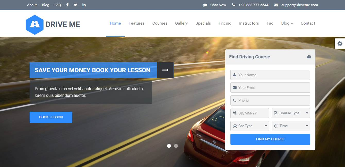 Top 7: Best Premium Driving School Website Templates | Our Code World