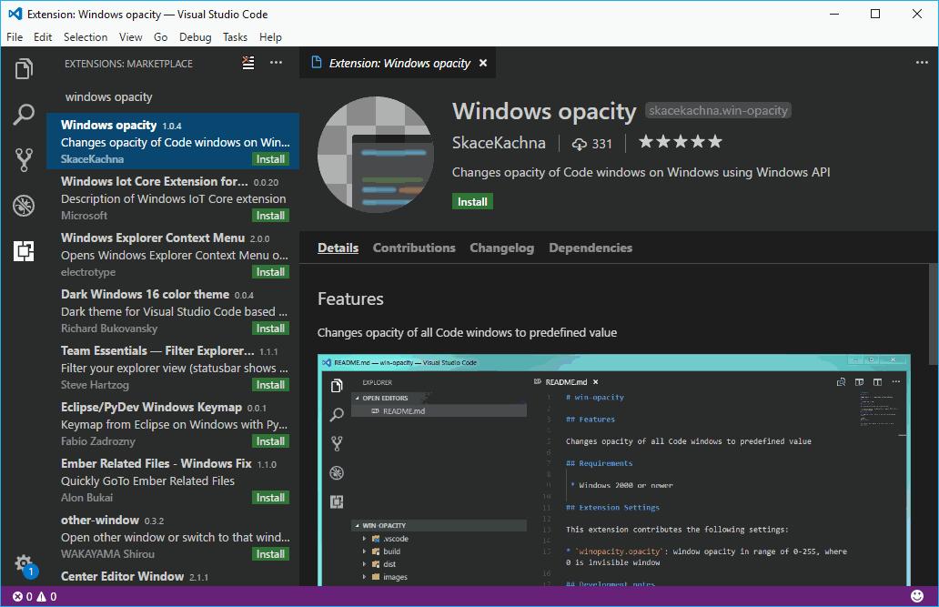 Windows Opacity Visual Studio Code Plugin