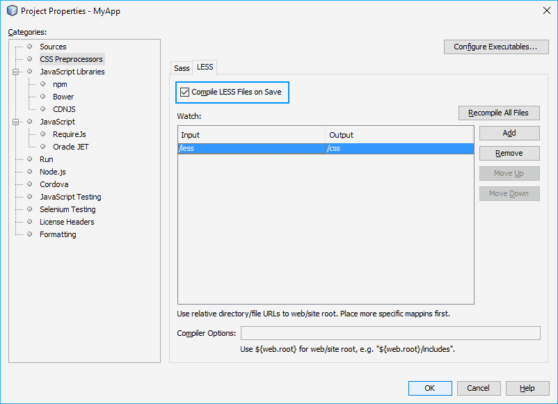 Compile less path in netbeans