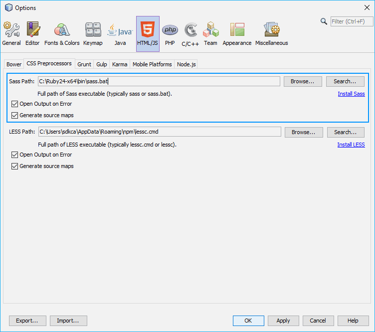 SASS Configure Executable Path in Netbeans in Windows