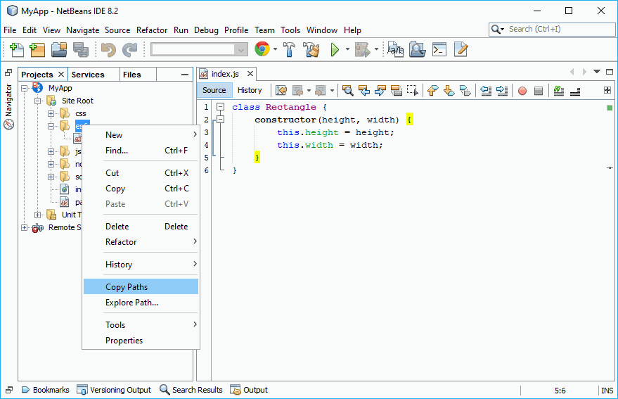 Copy folderpaths to clipboard in NetBeans