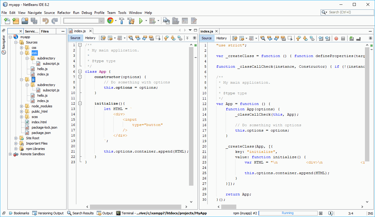 NetBeans ES6 transpiled to ES5