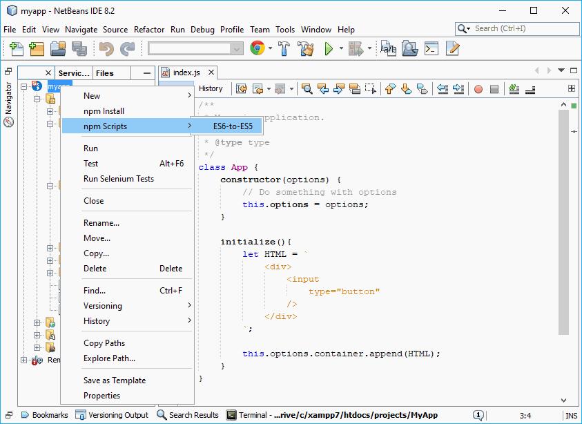 NetBeans compile ES6 to ES5