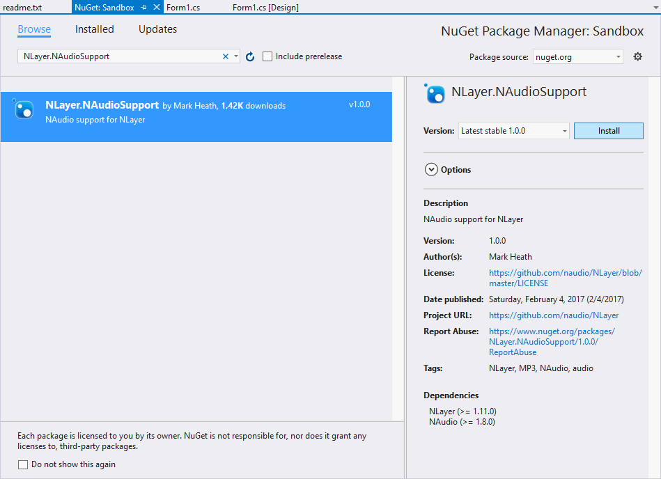 NLayer Mp3FileReader Installing with NuGet Package