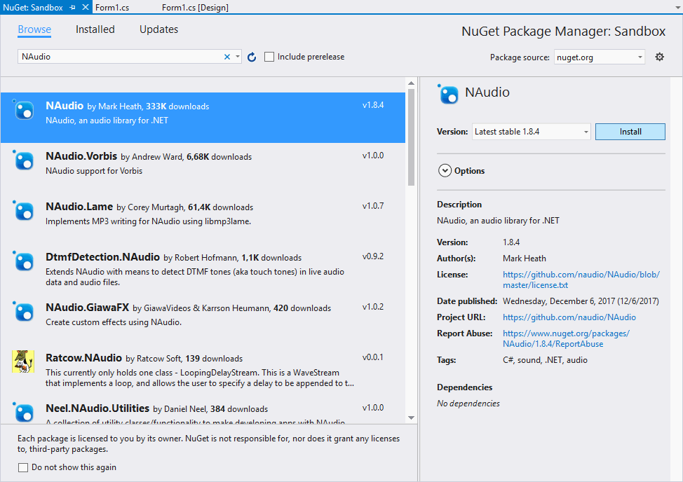 NAudio Install NuGet Package