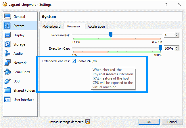 Enable PAE/NX Virtual Machine