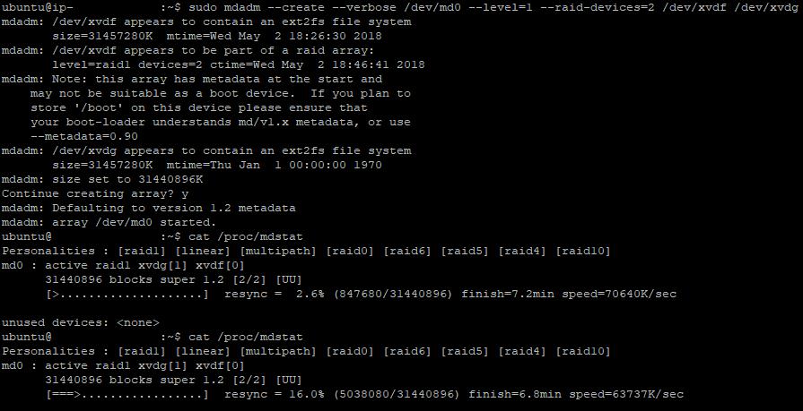 Create RAID 1 Output