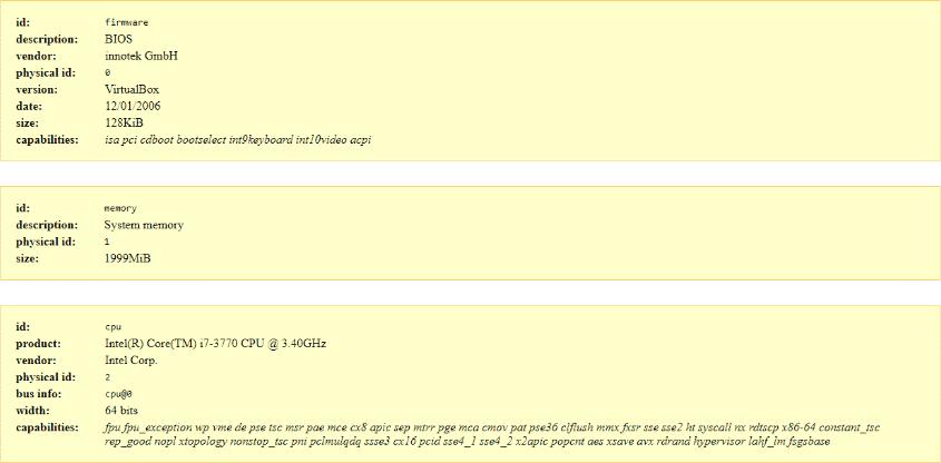 Ubunto Detailed Specs on HTML