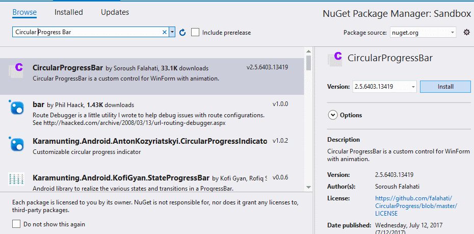 Install Circular Progress Bar Via NuGet