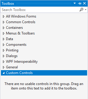 Custom Controls Toolbox Tab