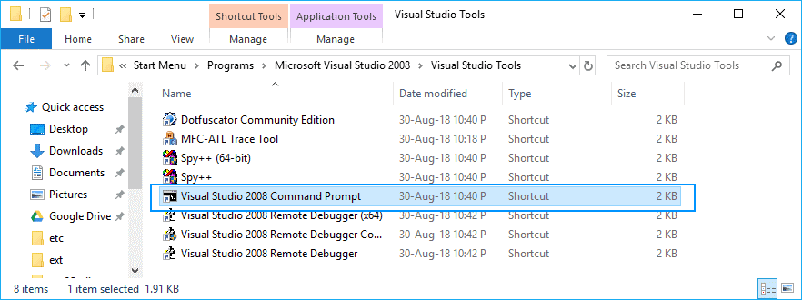 Visual Studio Developer Command Prompt