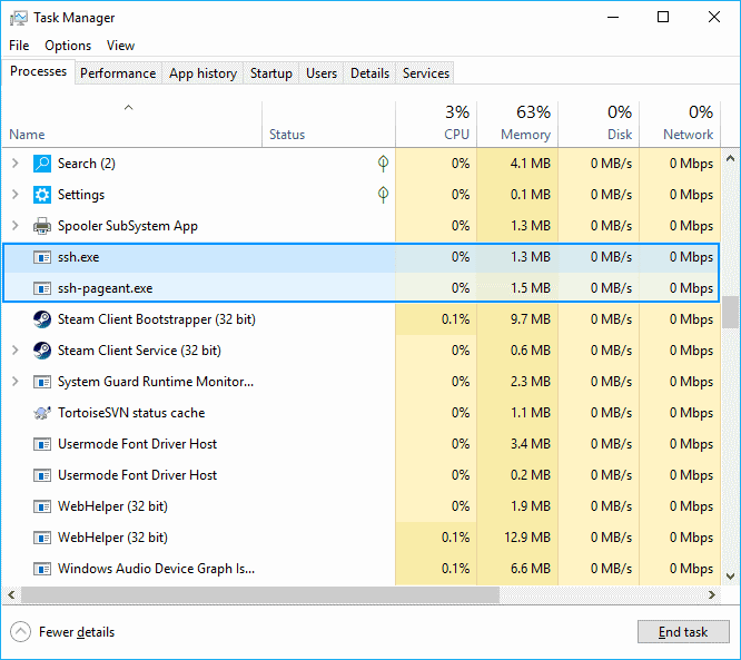 Task Manager Windows Kill process SSH.exe