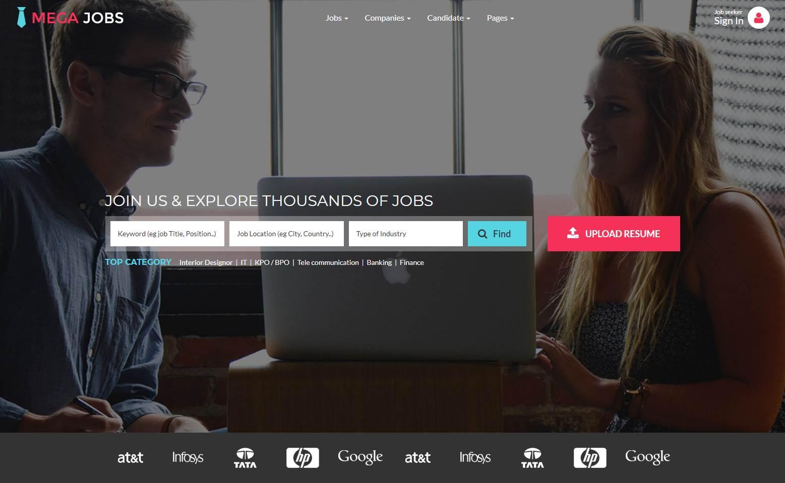 Mega Jobs Premium Jobs Portal Template