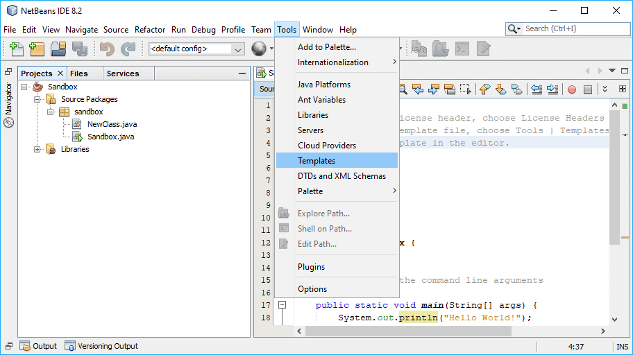 NetBeans Template Manager