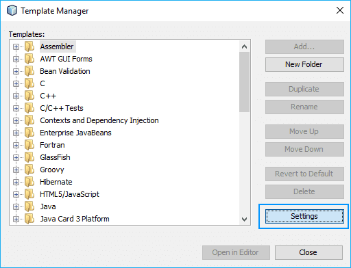 NetBeans Template Manager Settings