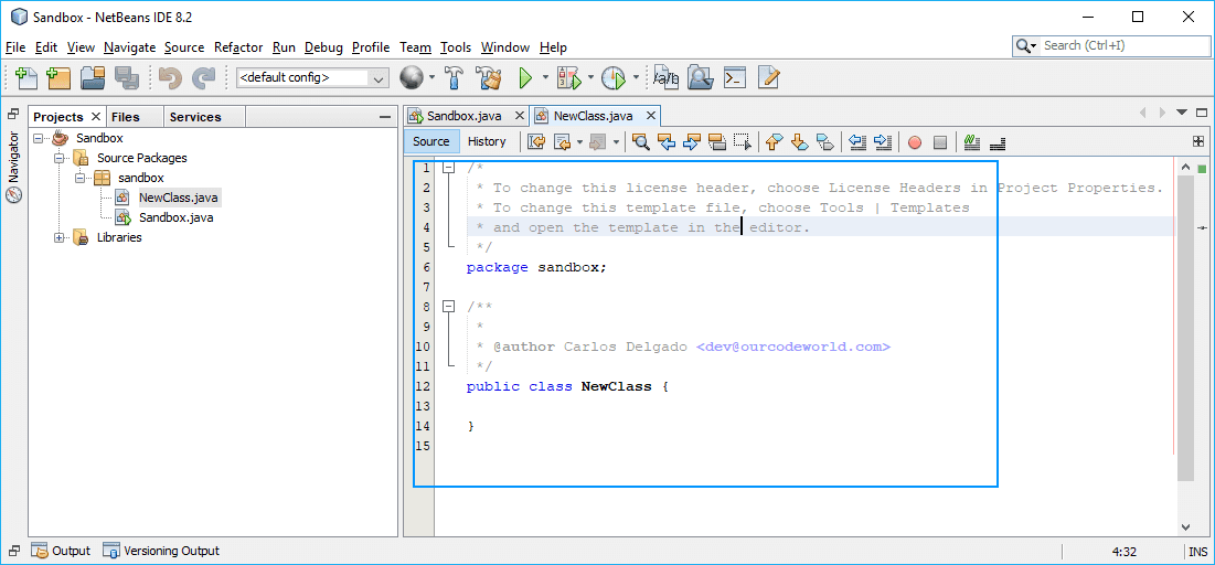 NetBeans Author Variable