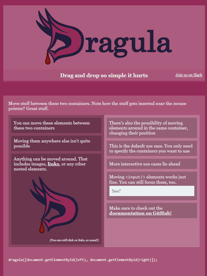 Dragula Drag & Drop Library