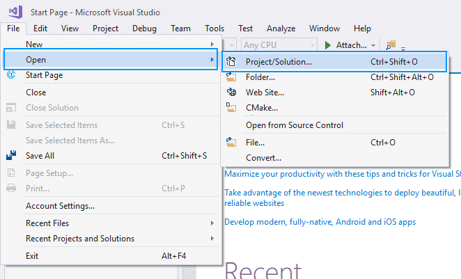 Visual Studio Open Solution