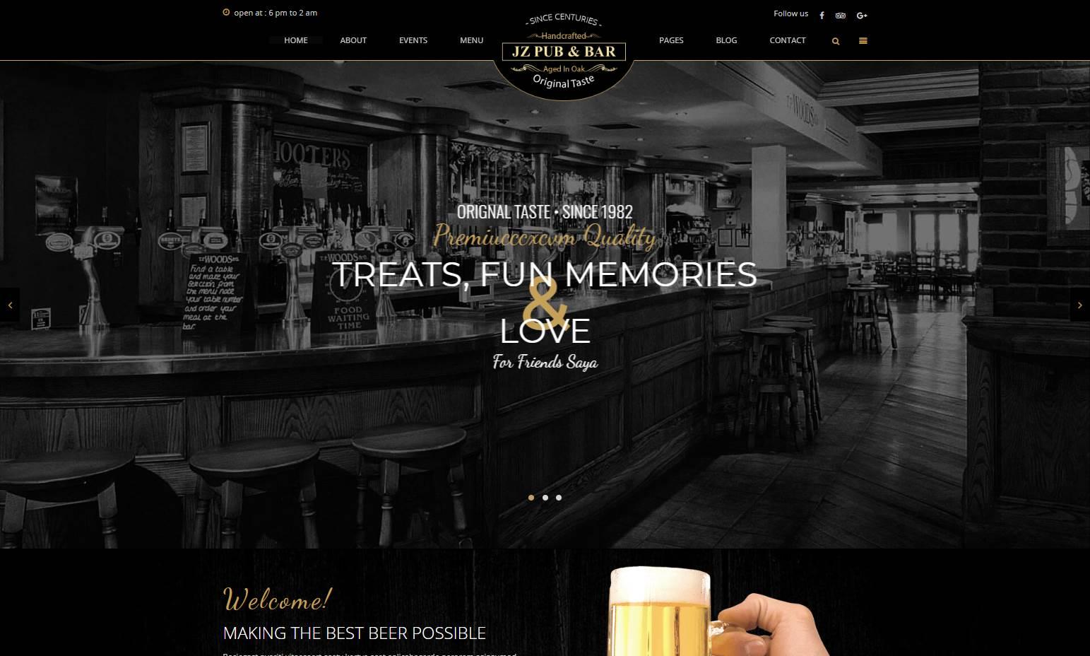 Jz Pub & Bar Premium HTML Template