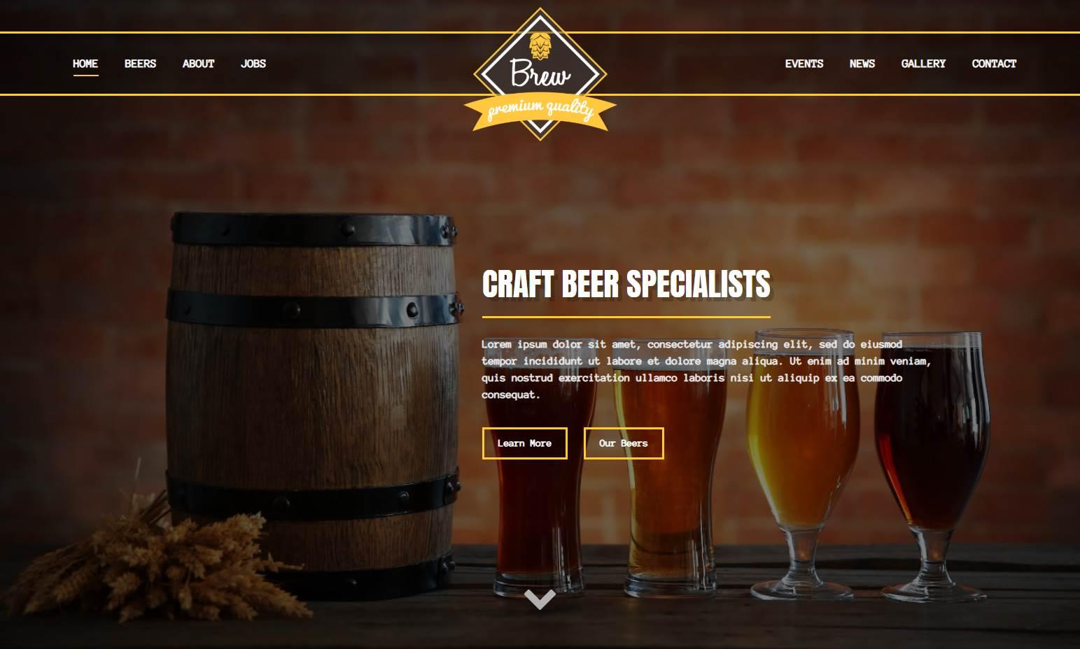 Premium Craft Beer Pub Bar HTML Template