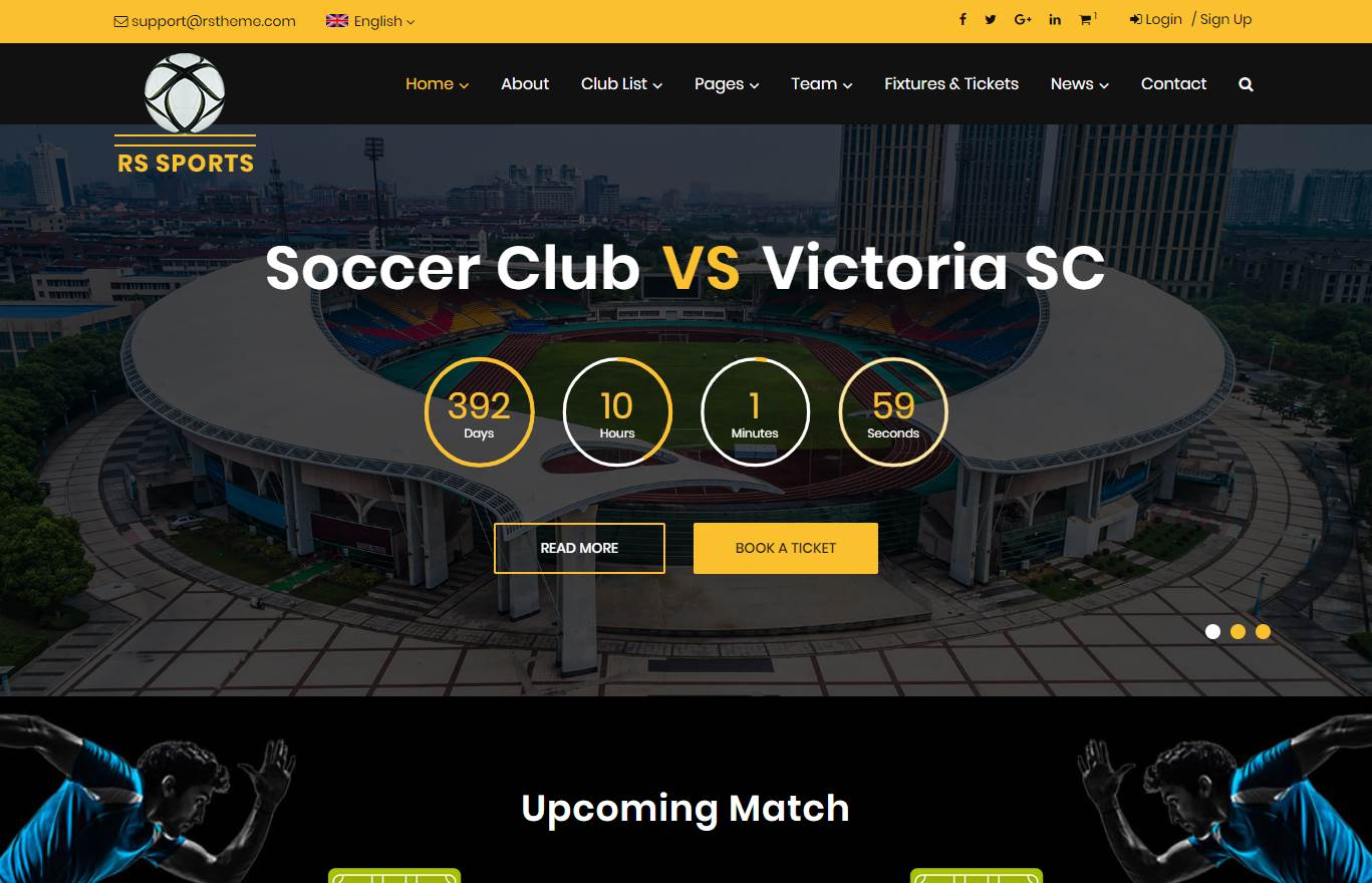 RS Sports Premium Website Template