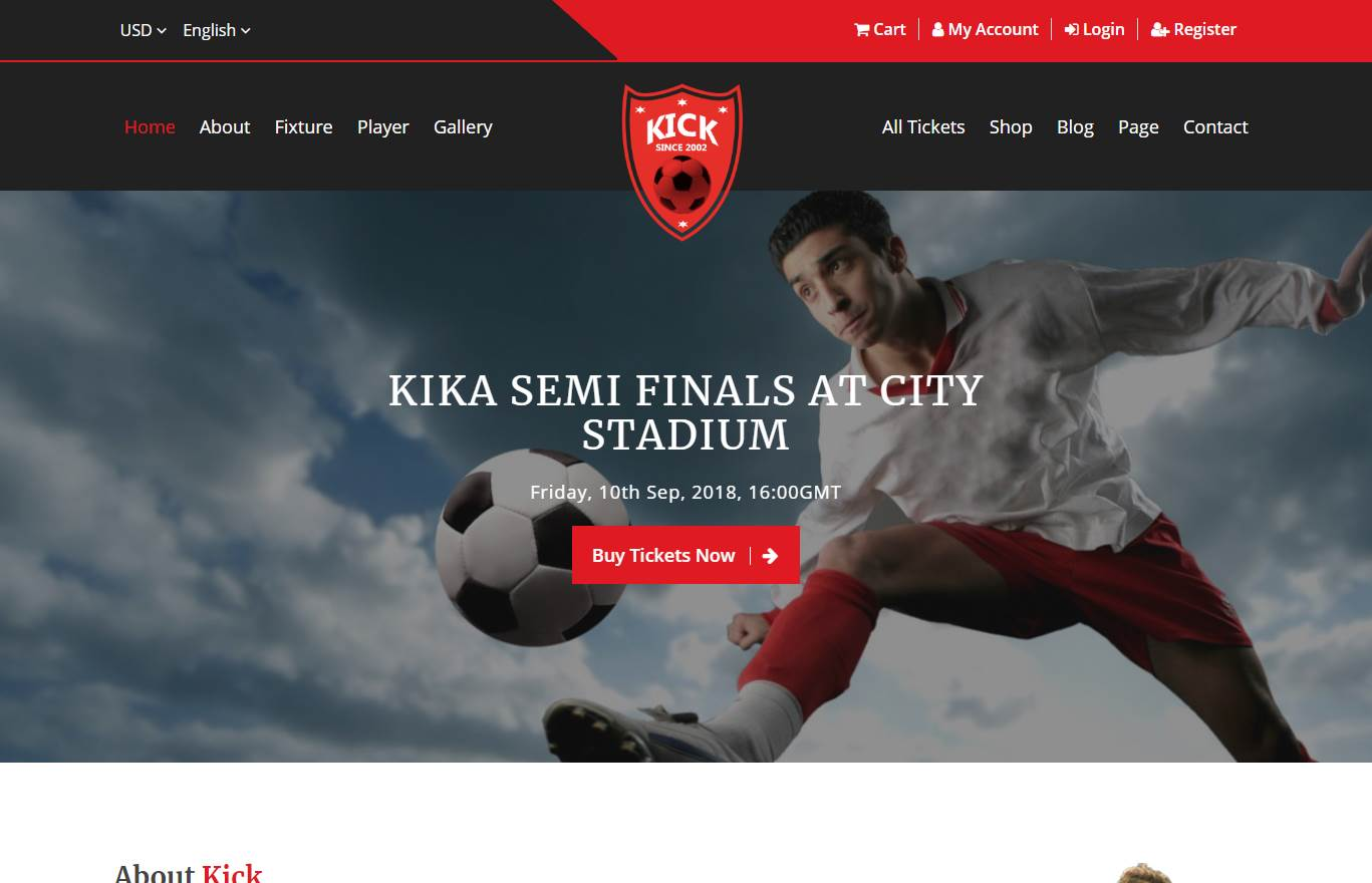 Kick Football Club Premium Website Template