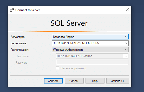SQL Server Management Studio SSMS Login