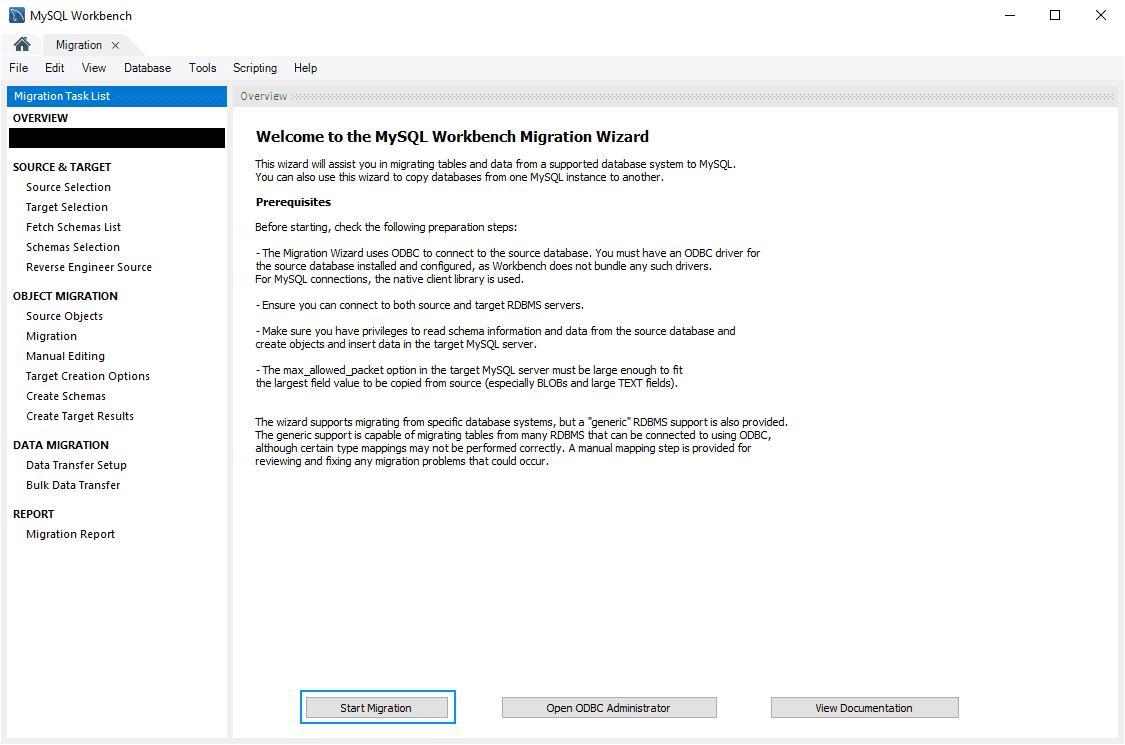 Start Migration MySQL Workbench